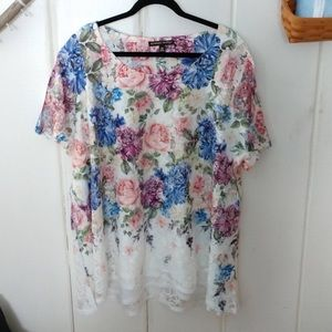 always indigo Tops - Always indigo • white floral lace blouse